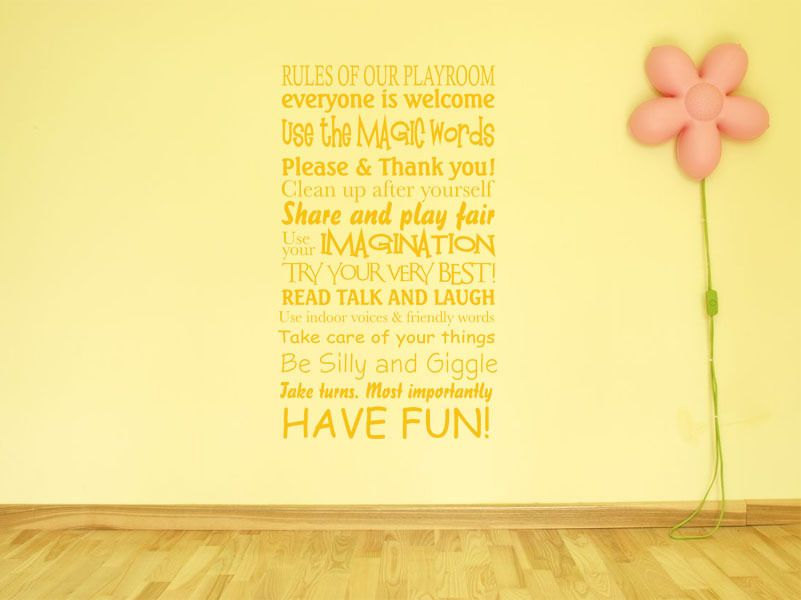 Playroom Wall Art Quote Rules of our playroom Children Nursery Wall ...
